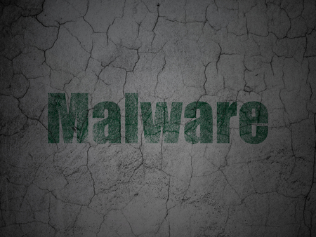 malware: Privacy concept: Green Malware on grunge textured concrete wall background Stock Photo