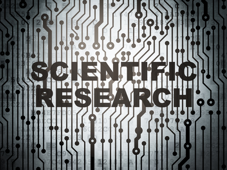 science scientific: Science concept: circuit board with  word Scientific Research, 3D rendering