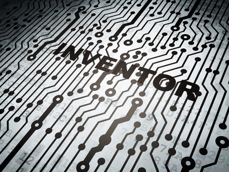 inventor: Science concept: circuit board with  word Inventor, 3D rendering Stock Photo