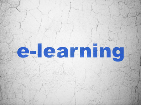 elearn: Studying concept: Blue E-learning on textured concrete wall background Stock Photo