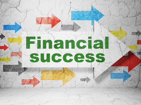 financial success: Banking concept:  arrow with Financial Success on grunge textured concrete wall background, 3D rendering Stock Photo