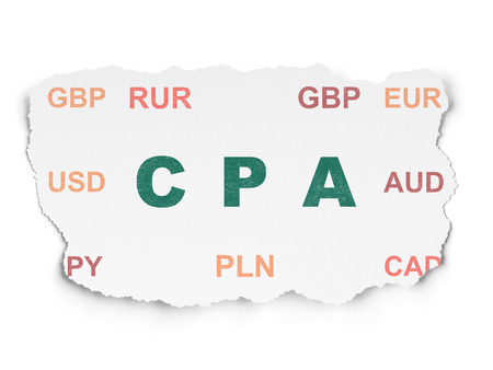 cpa: Finance concept: Painted green text CPA on Torn Paper background with  Currency