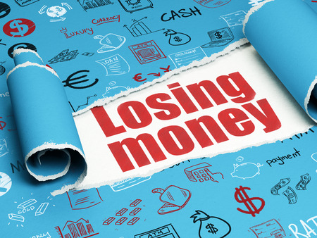 losing money: Banking concept: red text Losing Money under the curled piece of Blue torn paper with  Hand Drawn Finance Icons, 3D rendering