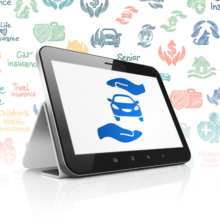 palm computer: Insurance concept: Tablet Computer with  blue Car And Palm icon on display,  Hand Drawn Insurance Icons background, 3D rendering