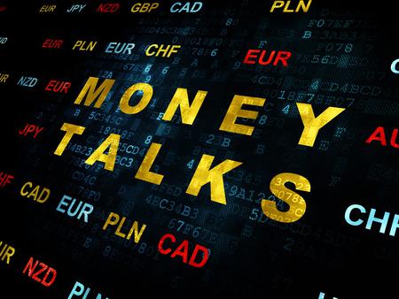 conversaciones: Concepto de negocio: Pixelated de texto amarilla negociaciones del dinero en el fondo de la pared digital con moneda Foto de archivo