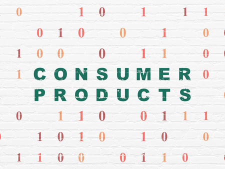consumer products: Finance concept: Painted green text Consumer Products on White Brick wall background with Binary Code