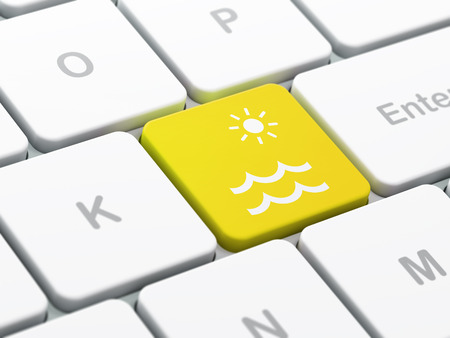 key of paradise: Travel concept: computer keyboard with Beach icon on enter button background, selected focus, 3D rendering
