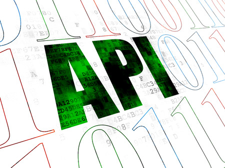 api: Software concept: Pixelated green text Api on Digital wall background with Binary Code