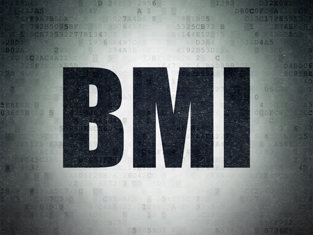 BMI: Healthcare concept: Painted black word BMI on Digital Data Paper background
