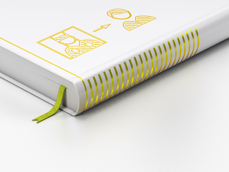 closed book: Law concept: closed book with Gold Criminal Freed icon on floor, white background, 3D rendering