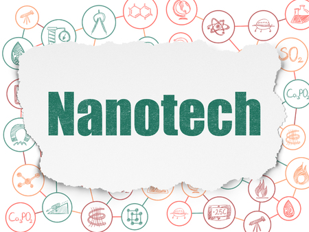 nanotech: Science concept: Painted green text Nanotech on Torn Paper background with Scheme Of Hand Drawn Science Icons