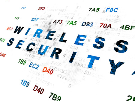 hexadecimal: Safety concept: Pixelated blue text Wireless Security on Digital wall background with Hexadecimal Code