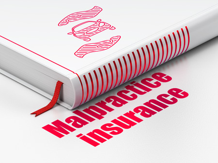 malpractice: Insurance concept: closed book with Red Car And Palm icon and text Malpractice Insurance on floor, white background, 3D rendering Stock Photo