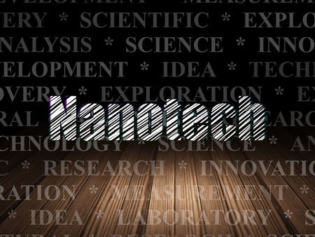 nanotech: Science concept: Glowing text Nanotech in grunge dark room with Wooden Floor, black background with  Tag Cloud