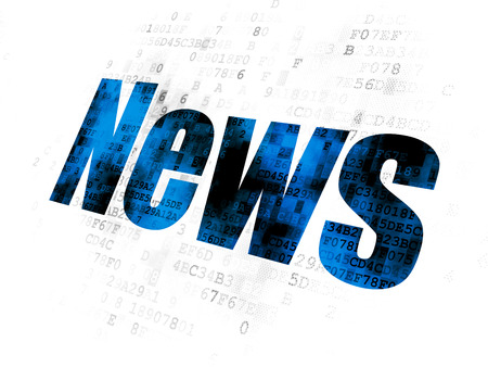 breaking the code: News concept: Pixelated blue text News on Digital background Stock Photo