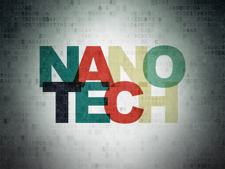nanotech: Science concept: Painted multicolor text Nanotech on Digital Data Paper background Stock Photo