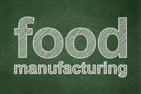 food industry: Industry concept: text Food Manufacturing on Green chalkboard background