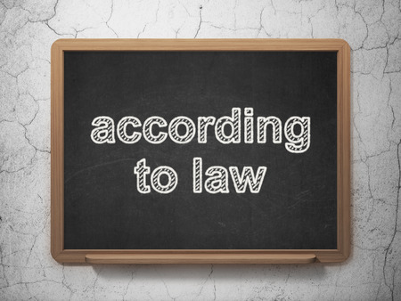 according: Law concept: text According To Law on Black chalkboard on grunge wall background, 3D rendering