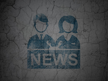 anchorman: News concept: Blue Anchorman on grunge textured concrete wall background