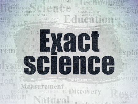 exact science: Science concept: Painted black text Exact Science on Digital Data Paper background with   Tag Cloud