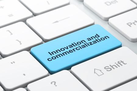 commercialization: Science concept: computer keyboard with word Innovation And Commercialization, selected focus on enter button background, 3D rendering Stock Photo