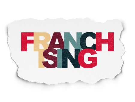 franchising: Finance concept: Painted multicolor text Franchising on Torn Paper background