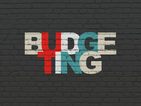 budgeting: Business concept: Painted multicolor text Budgeting on Black Brick wall background