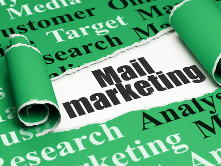 Marketing concept: black text Mail Marketing under the curled piece of Green torn paper with  Tag Cloud, 3D rendering Stock Photo