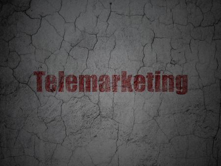 telemarketing: Marketing concept: Red Telemarketing on grunge textured concrete wall background