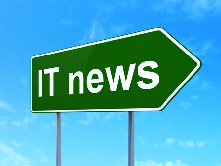 highway sign: News concept: IT News on green road highway sign, clear blue sky background, 3D rendering