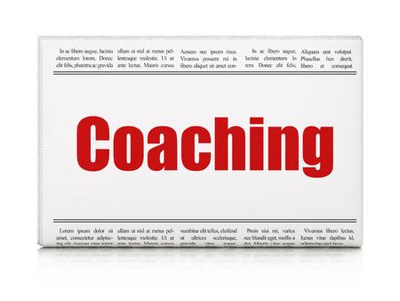 newspaper headline: Learning concept: newspaper headline Coaching on White background, 3D rendering