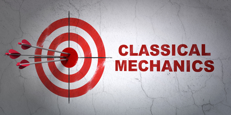 classical mechanics: Success Science concept: arrows hitting the center of target, Red Classical Mechanics on wall background, 3D rendering Stock Photo