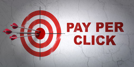 pay wall: Success advertising concept: arrows hitting the center of target, Red Pay Per Click on wall background, 3D rendering