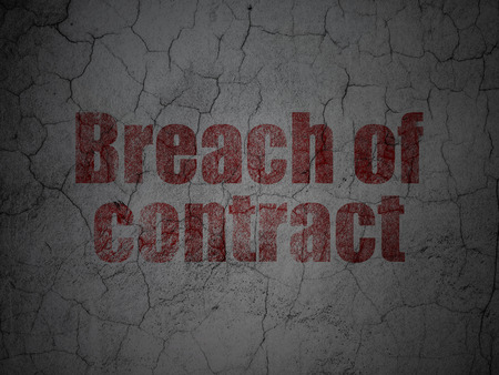concrete court: Law concept: Red Breach Of Contract on grunge textured concrete wall background