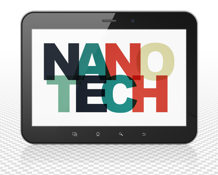 nanotech: Science concept: Tablet Pc Computer with Painted multicolor text Nanotech on display, 3D rendering Stock Photo