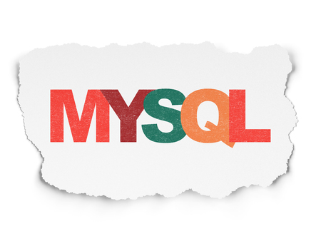 mysql: Database concept: Painted multicolor text MySQL on Torn Paper background