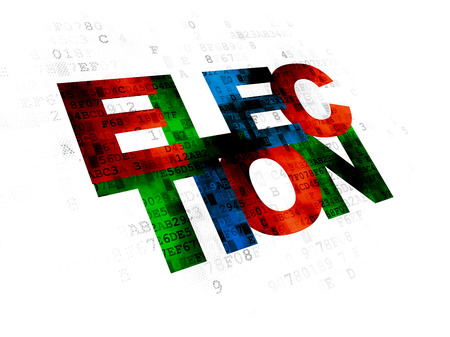 political system: Politics concept: Pixelated multicolor text Election on Digital background Stock Photo