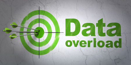 data system: Success Data concept: arrows hitting the center of target, Green Data Overload on wall background, 3D rendering Stock Photo