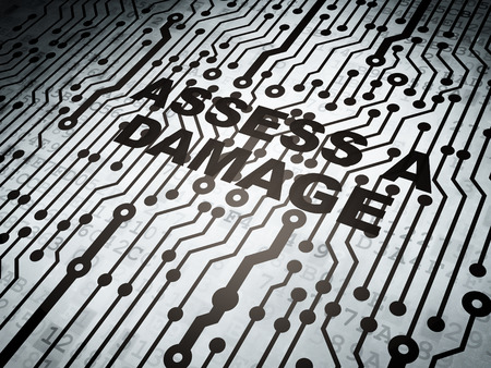 assess: Insurance concept: circuit board with  word Assess A Damage, 3D rendering