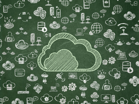 green computing: Cloud computing concept: Chalk Green Cloud icon on School board background with  Hand Drawn Cloud Technology Icons, School Board Stock Photo