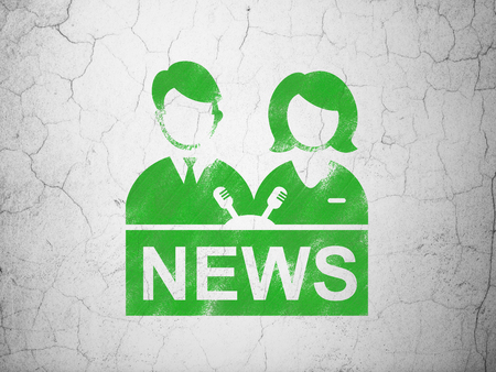 anchorman: News concept: Green Anchorman on textured concrete wall background