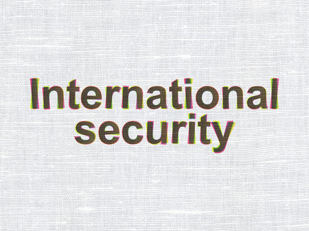 international security: Privacy concept: CMYK International Security on linen fabric texture background Stock Photo