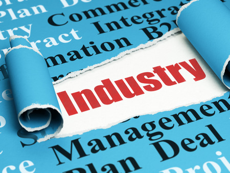 Business concept: red text Industry under the curled piece of Blue torn paper with  Tag Cloud, 3D rendering Stock Photo