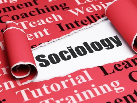 sociologia: Concepto de la educaci�n: Sociolog�a texto negro debajo de la pieza de papel rasgado rizado rojo con la nube de la etiqueta, 3D Foto de archivo