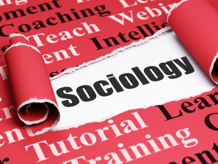 sociology: Education concept: black text Sociology under the curled piece of Red torn paper with  Tag Cloud, 3D rendering