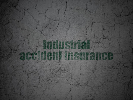 industrial accident: Insurance concept: Green Industrial Accident Insurance on grunge textured concrete wall background