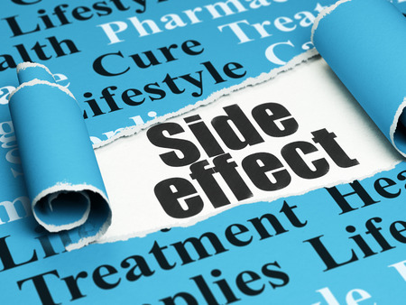 side effect: Health concept: black text Side Effect under the curled piece of Blue torn paper with  Tag Cloud, 3D rendering Stock Photo