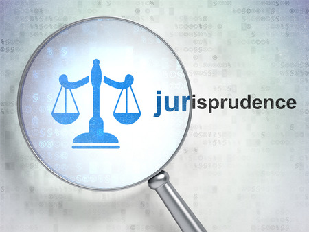 jurisprudence: Law concept: magnifying optical glass with Scales icon and Jurisprudence word on digital background, 3D rendering