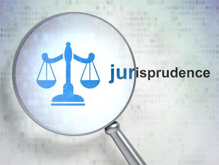 jurisprudencia: Ley concepto: lupa �ptica con el icono de las escalas y la palabra Jurisprudencia sobre el fondo digital, 3D Foto de archivo