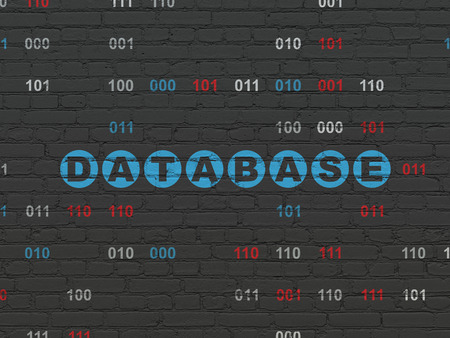 data system: Database concept: Painted blue text Database on Black Brick wall background with Binary Code